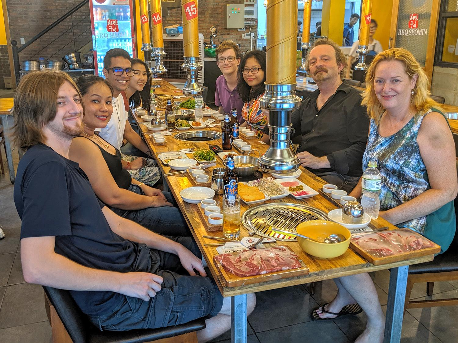 Oswego faculty, students eating out in Vietnam