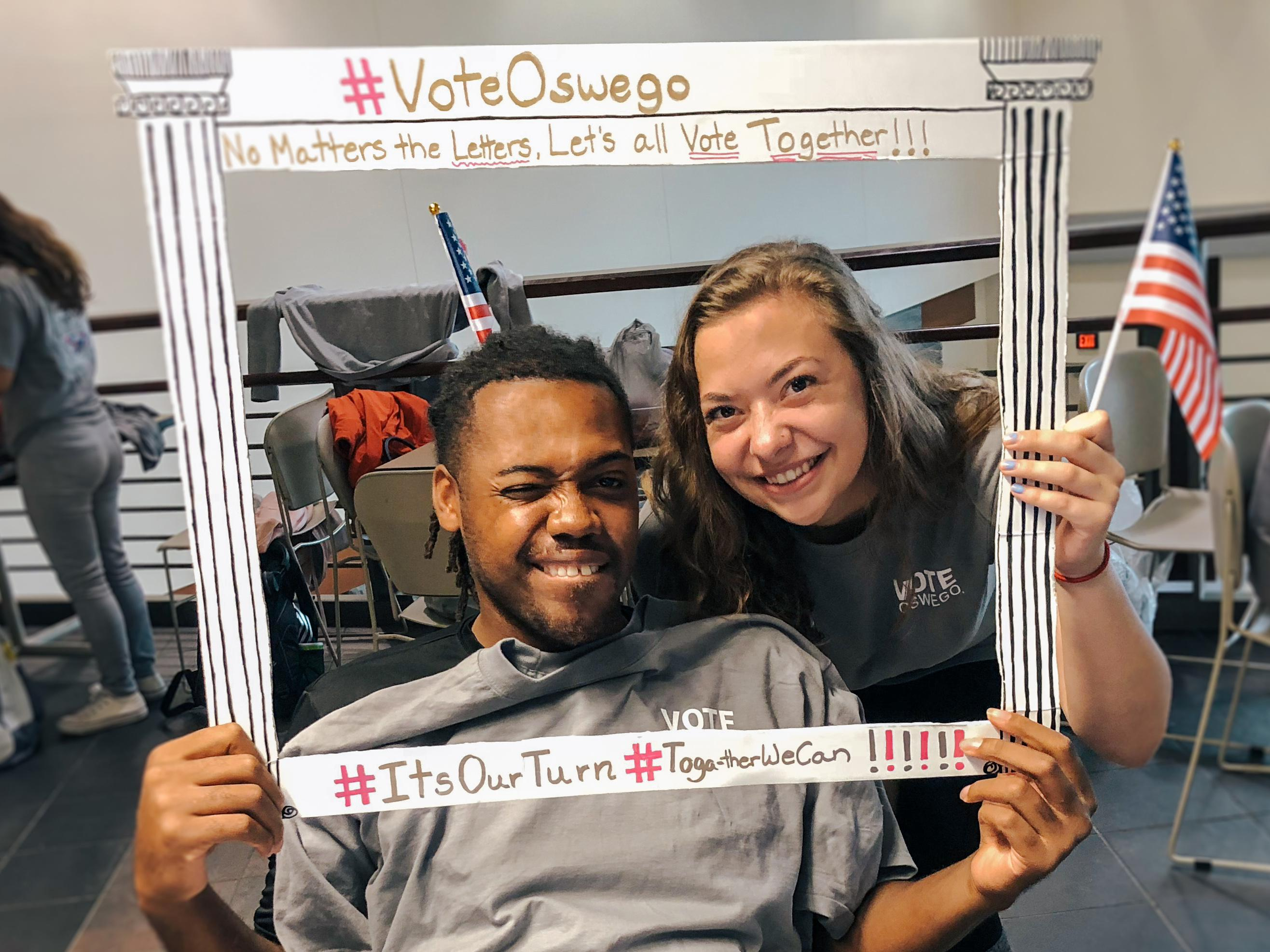 Students working together for civic engagement via Vote Oswego