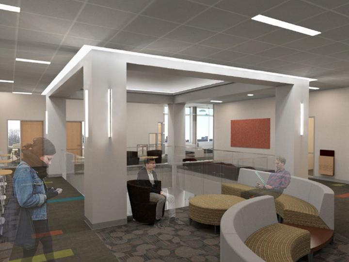 Rendering of Wilber Hall commons