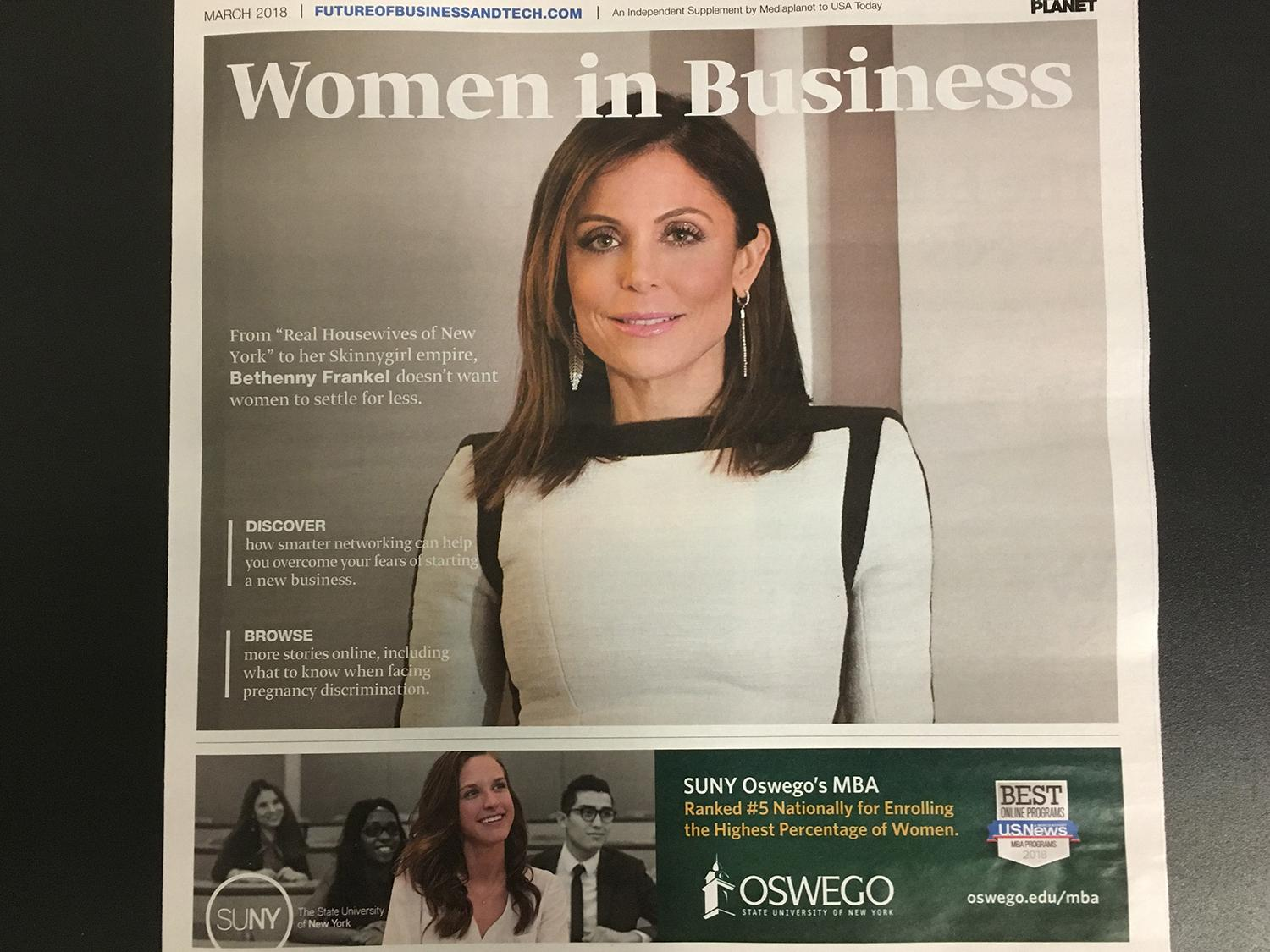 Oswego on cover of USA Today Women in Education supplement