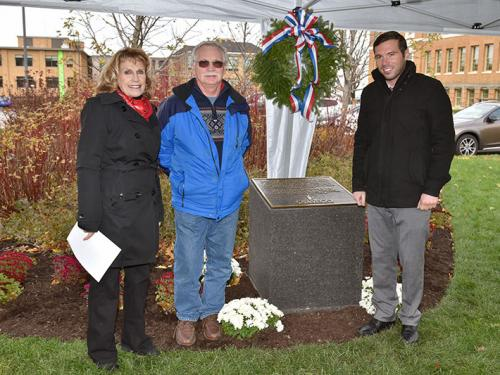 President Stanley, Oswego Town Supervisor Richard Kaulfuss, Oswego Mayor Billy Barlow at World War I plaque dedication