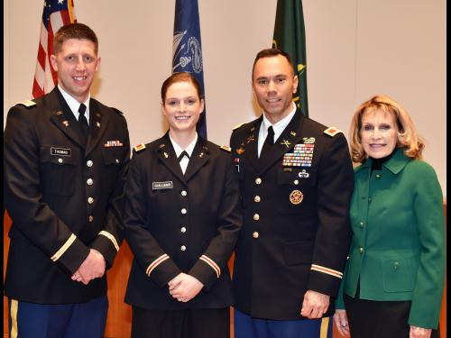 Two SUNY Oswego ROTC students each received U.S. Army commissions in December 2019