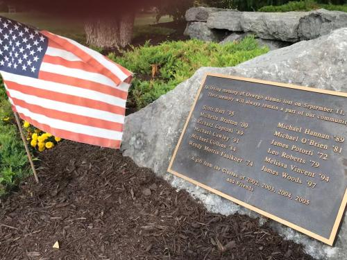 Memorial with names of 12 alumni killed in 9/11 attacks