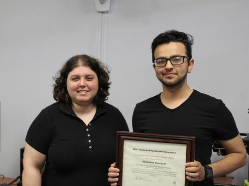 Student service award winner Abhishek Rauniyar, at right, with nominator Sharona Ginsberg