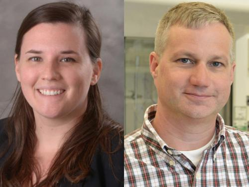 Lindsay McCluskey of communication studies and Casey Raymond of chemistry are the 2021 President's Award for Excellence in Academic Advising.