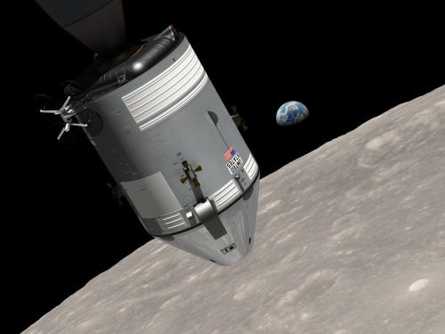 NASA animation of 1968 space journey of Apollo 8 spacecraft