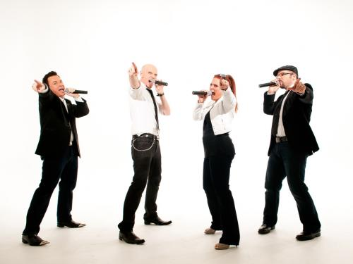 Four members of Blue Jupiter a cappella act