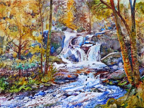 Watercolor of Glenwood Falls landscape