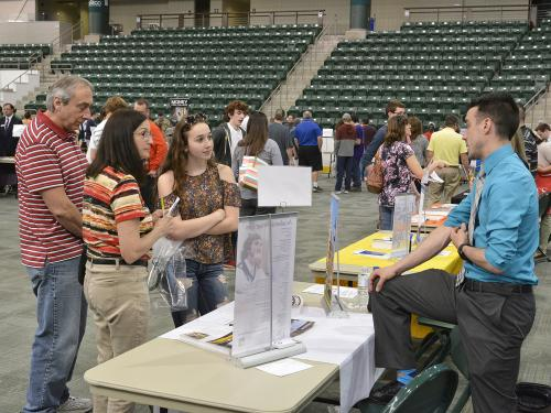 High schoolers and families attend college fair at SUNY Oswego