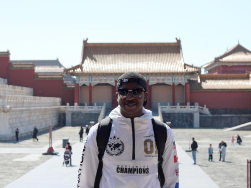 Diandre Coote Anderson studying abroad in China, a country where he now pursues an advanced degree
