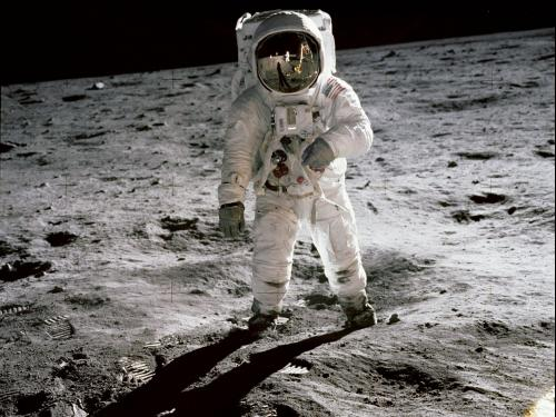 Archival image of Apollo 11 astronaut, connected to planetarium show on its anniversary