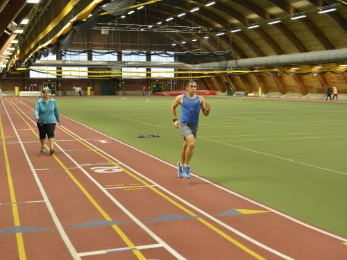 Runners, walkers use Romney Field House track