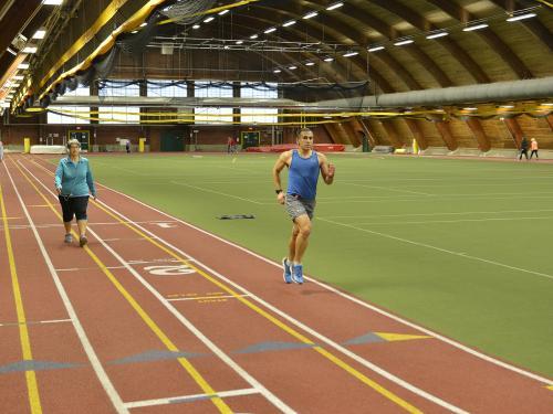 Runners, walkers use Romney Field House track