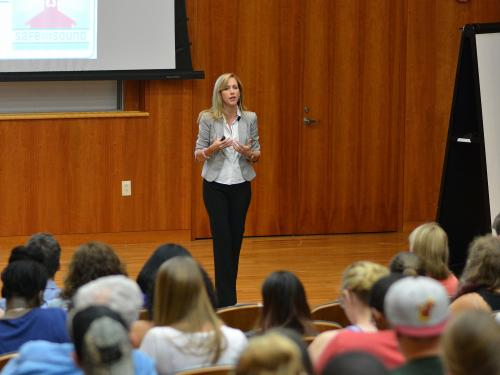 Michele Gay, who founded the non-profit Safe and Sound: Securing Our Schools, shown speaking on campus