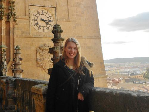 International time—SUNY Oswego Spanish major Mallory Russell, shown during a study abroad trip to Salamanca, Spain, has applied for a prestigious Fulbright fellowship to teach English in Brazil.