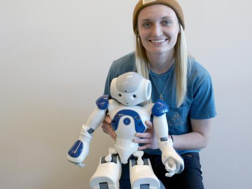 Jayme McCreary with robot