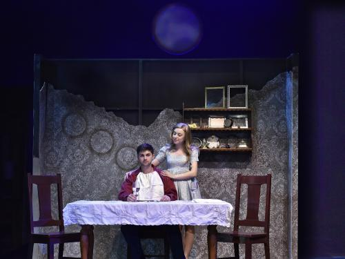Katy Hartzell and Andrew Buyea star in SUNY Oswego's production of Elsewhere