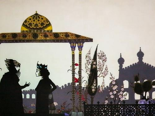 Feathers of Fire promotional illustration showing two people, castle, gazebo and garden