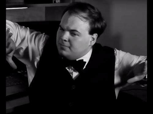 Alexander Griffin plays a man confounded and confronted by the black bar around the screen in Frame Fumble