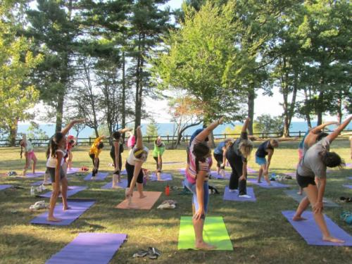 Campus community members take part in Lakeside Yoga