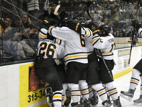 Hockey players celebrating