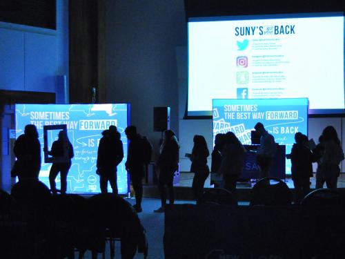 Oswego students line up to fill comfort kits as part of SUNY's Got Your Back initiative