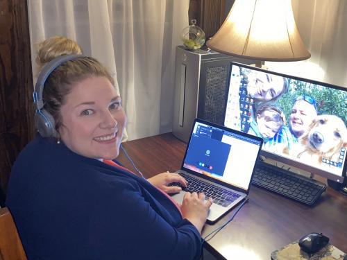 Alyssa Steele works the college's COVID hotline