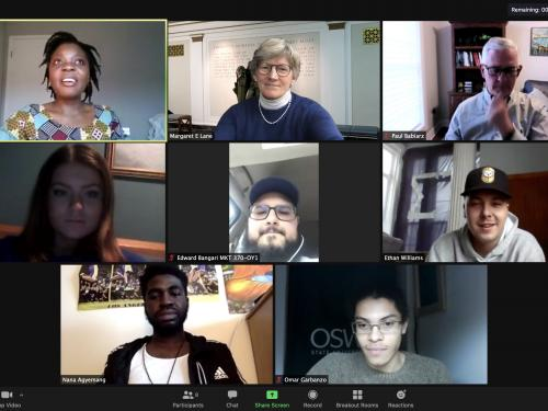 Humphrey Fellows from around the world speak with Oswego students over Zoom