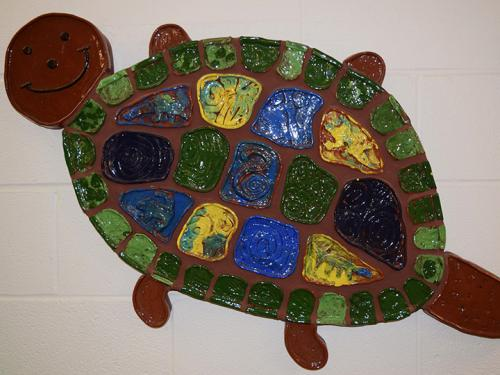 Ceramic turtle made by Jowonio schoolchild, part of exhibition