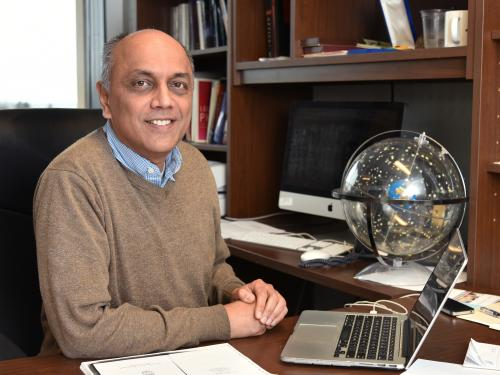 Shashi Kanbur in his Shineman Center office