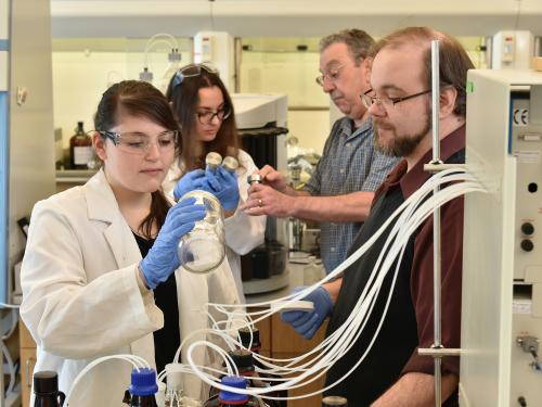 The Environmental Research Center features faculty, staff and students collaborating on important lake research