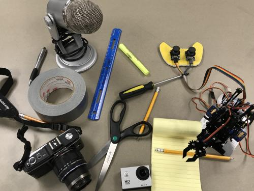 Items for drawing, filming, photographing making and more show the many paths attendees of the Makeathon can take