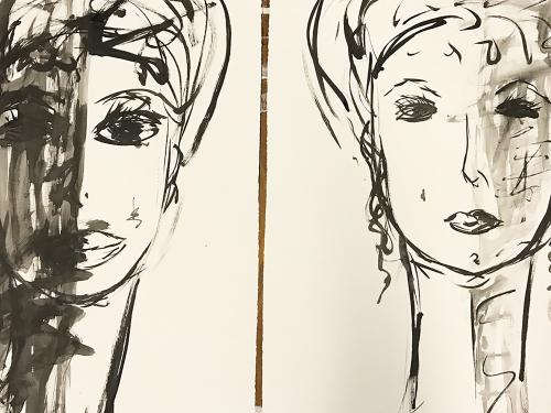 Black and white sketches of women's faces, somewhat obscured, by Marcela Hanford
