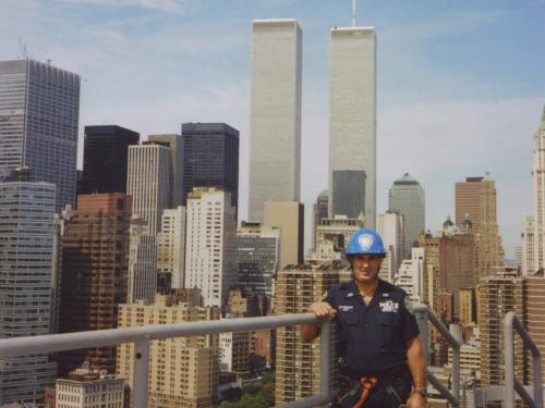 John McLoughlin in Port Authority Police Department uniform in front of the World Trade Center