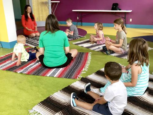 Siobhan Rodrigues leads a Guided Imagery Adventure session, part of a new Mindful Movement summer program at the Children's Museum of Oswego