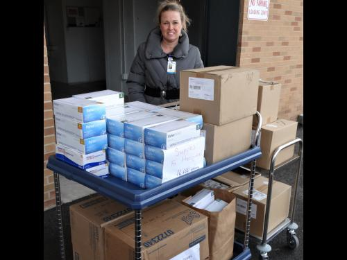 Oswego Health picks up 16,600 donated gloves for health-care heroes