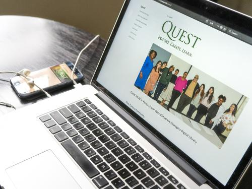 Laptop open to SUNY Oswego Quest page