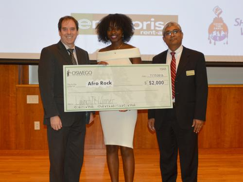 Ramatoulaye Sy, a sophomore finance major from Senegal, won the 2019 edition of SUNY Oswego's LaunchIt student startup competition with her product AfroRock, an all-natural lotion to protect and maintain the hair and scalp