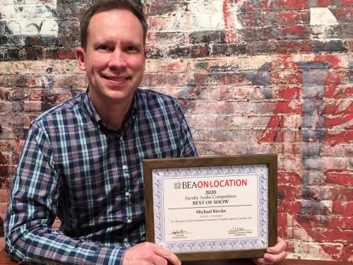 Michael Riecke of communication studies won a national Best of Show award for an audio story on theatres and performers reacting to the pandemic's curtailing of shows