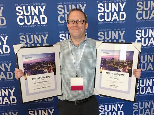 Tim Nekritz accepts SUNYCUAD awards