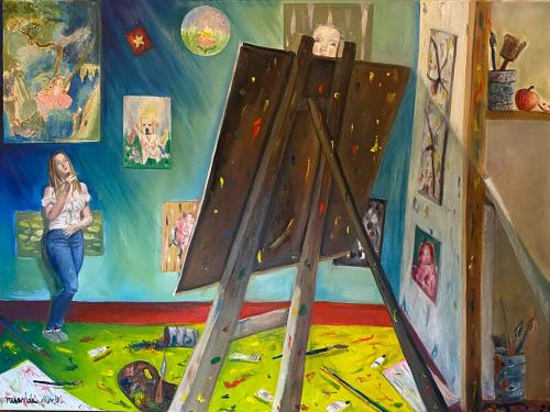 Blind, a painting by student Miranda Smith, shows a woman with a large easel in a room with paintings upon its walls
