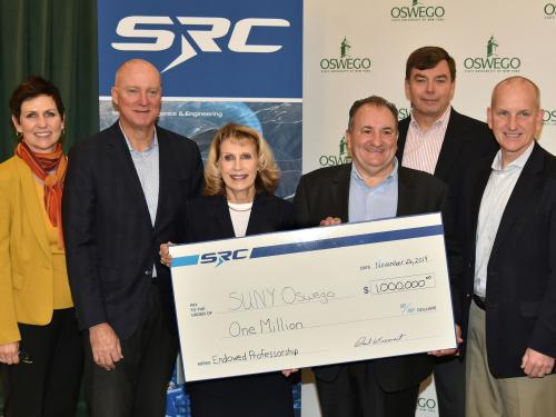 SRC Inc. presents a $1 million gift to SUNY Oswego to establish an endowed professorship in engineering