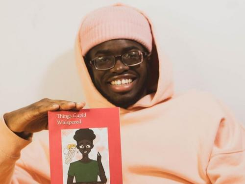 """SUNY Oswego student Rickey Strachan wit his recent publication, a book of poetry titled """"Things Cupid Whispered"""""""