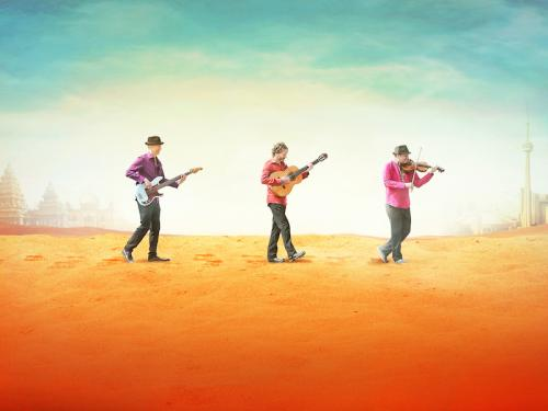 Three members of the Sultans of Swing musical ensemble walk across a colorful landscape holding instruments