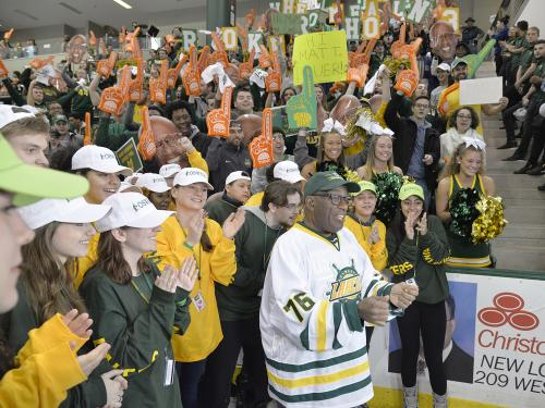 Al Roker and the Oswego family celebrating a world record