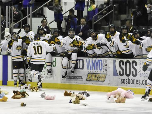 Laker hockey players celebrate goals on fans toss stuffed bears on the ice in support of Toys for Tots