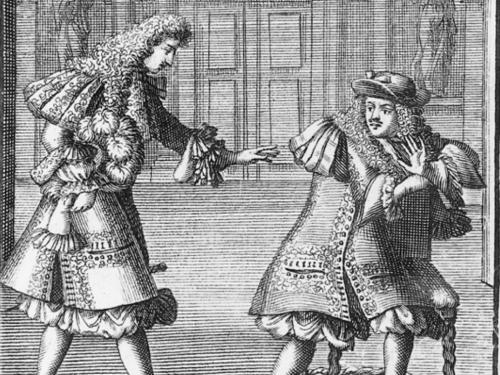 Print of two actors in a scene from Moliere's The Misanthrope
