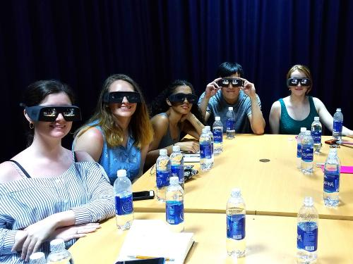 Students with virtual reality goggles
