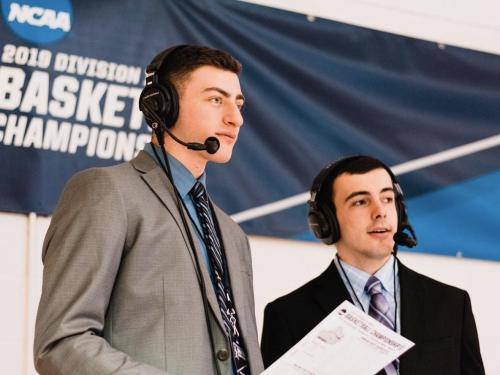 WTOP broadcasters Michael Gross and Nick Ketter work an NCAA broadcast