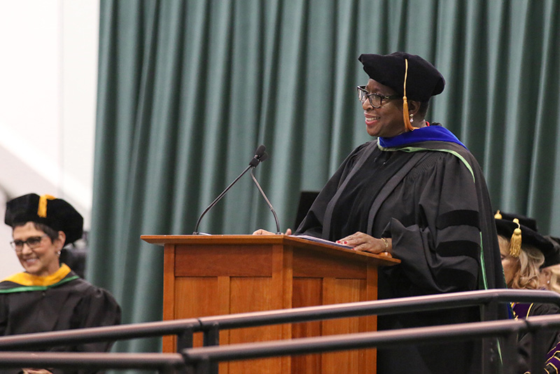 Dr. Yvonne Spicer, a 1984 graduate and 1985 master's degree recipient of SUNY Oswego and now mayor of Framingham, Massachusetts, addresses 2019 candidates for graduation